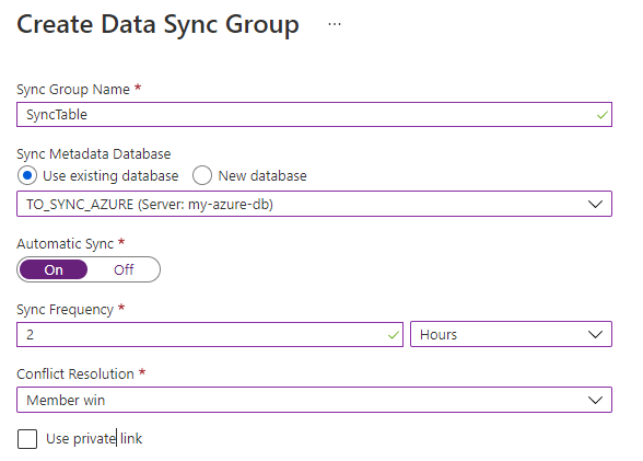 create data sync group